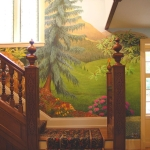 Landscape mural, stairs