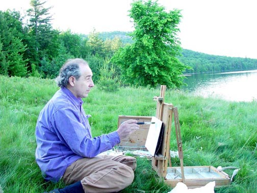 Plein air painting by Lake Lila, Adirondack mountains.