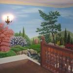 Landscape mural, stair landing